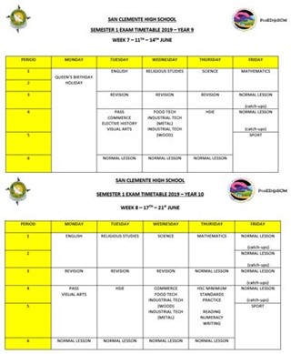 Semester 1 Exam Timetable - San Clemente High School Mayfield