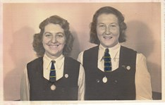 1949 Jeanette Mcmurtrie And Anna Rutherford 5Th Year Prefect And C Of M Badges